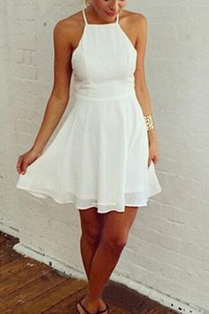 White Back Hollow-out Spaghetti Strap A-line Sleeveless Dress