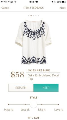 Skies are Blue Embroidered detail top #sponsored #stitchfix SIGN UP TODAY!!! Stitch Fix fashion 2017  2018 spring and summer.