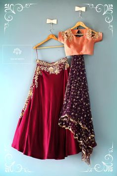 Maroon lehengha with a peach cold shoulder blouse and a sparkly purple dupatta.  indian wedding collection sister of the bride outfit  maroon lehengha  colds houlder blouse  light lehengha  wedding season  12 February 2017