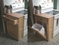 Anna White DIY Wood Tilt Out Trash Or Recycling Cabinet- Would be great for the Laundry Room and Bedroom Furniture Projects, Home Projects, Diy Furniture, Furniture Outlet, Furniture Stores, Kitchen Furniture, Kitchen Redo, Kitchen Remodel, Kitchen Design