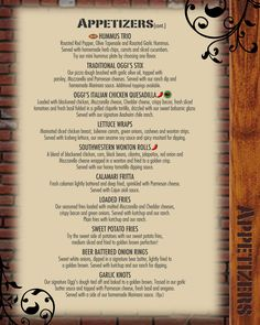Oggi's Pizza and Brewing Company: Our Menu Pizza | Pasta | Salads | Burgers | Craft Beer