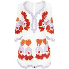 Alice McCall White Embroidered Never Ever Playsuit ($350) ❤ liked on Polyvore featuring jumpsuits, rompers, dresses, playsuits, romper, 3/4 sleeve romper, playsuit jumpsuit, playsuit romper, jump suit and white romper