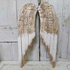 White angel wings wall decor distressed rusty by AnitaSperoDesign