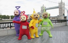 The Teletubbies pose at the Teletubbies 10th anniversary celebration September 3, 2007 in London,England.