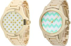 Chevron and Polka Dot Face Boyfriend Watches  60% off at Groopdealz