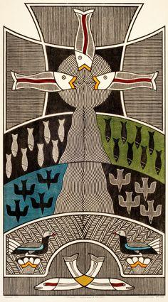 Gilvan José de Meira Lins Samico    Criação - Pássaros e Peixes, 1992    Xilogravura ed 79/120    90,5 x 50 cm    Foto: João Liberato.