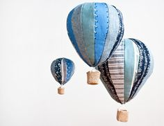 Made by Mosey - Hot Air Balloon mobiles - The Design Files Baby Mobile Felt, Baby Crib Mobile, Craft Victoria, Mobiles, The Design Files, Hot Air Balloon, Balloon Party, Softies, Plushies