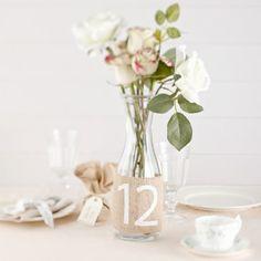 Fourreaux numéros de table jute vintage - Lot de 12