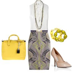 So into gray and yellow combos. Concerned about my real woman hips and a paisley print pencil skirt though.
