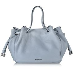 Michael Kors Handbags Dalia Large Matte Pebble Tote ($530) ❤ liked on Polyvore featuring bags, handbags, tote bags, dusty blue, woven-leather handbags, leather purses, leather man bags, leather tote and pebbled leather tote