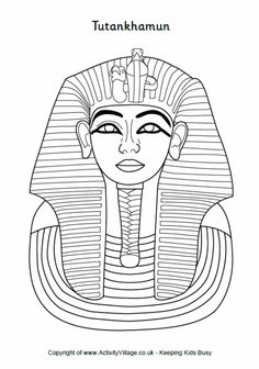 Tutankhamun colouring, Tutankhamun death mask colouring page