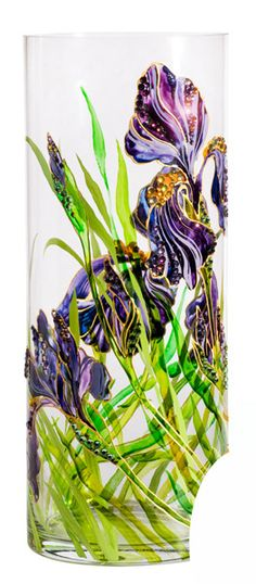 Glass vase | Hand painted stained glass.