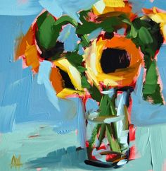 sunflowers+on+blue+painting.jpg (700×719)