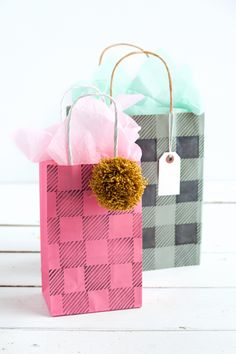 Add a buffalo plaid pattern to your crafts with this easy DIY stamp set. from a Beautiful Mess