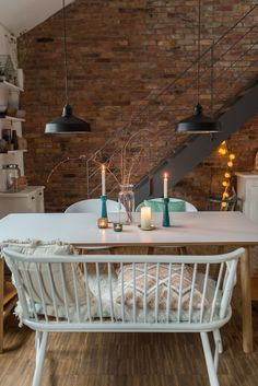 Mein Winter Esszimmer Decorating ideas for the dining room in the winter in the Scandinavian look with bank and brick wall – Leelah Loves Home Interior Design, Interior Decorating, Decorating Ideas, White Table Top, Style Deco, Bedroom Murals, Decoration Table, Cozy House, Interiores Design