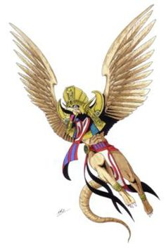 Garuda-Persona 3 version. The Garuda is a large mythical bird or bird-like creature that appears in both Hindu and Buddhist mythology. In Hindu mythology, a Garuda is a lesser Hindu divinity, usually the mount of Vishnu. Garuda is depicted as having a golden body, white face, red wings, and an eagle's beak, but with a strong man's body. He wears a crown on his head. He is ancient and has size enough to block out the sun.