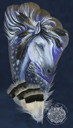 Horse love by Natalie on Etsy Feather Painting, Feather Art, American Indian Art, Native American Art, Street Art, Pony Horse, Colorful Quilts, Pictures To Draw, Drawing Pictures