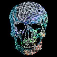 8x10  - Blue Sequin Skull - sequins, skulls, Skulls, Skulls, Material Transfer