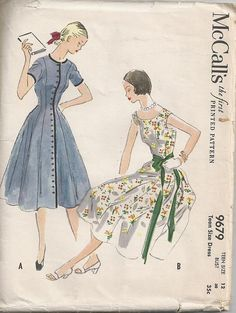 Pretty 50s Dress with Full Skirt McCalls Vintage by Redcurlzs, $20.00