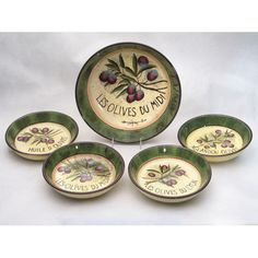 Certified International Garden of Olives by Susan Winget 5 Piece Pasta Set