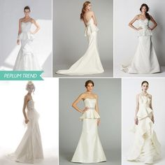 Peplum Wedding Dresses from Spring 2013:Photo credits (clockwise from top left):Junko Yoshioka – Brook Dress,Tara Keely/JLM Couture,Watters – Grafton Gown,Vera Wang – Fern,Alvina Valenta/JLM Couture,Elizabeth Fillmore – Nuria Which one do you like best? Chick here to see more Peplum dresses:OuterDress ♥ Peplum