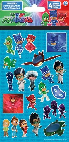 4 Sheets of PJ Masks Stickers 0.0315 x 8.2677 x 4.252