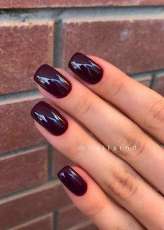 Discover our semi-permanent nail polish for a perfect manicure in rec… – NagelDesign Elegant ♥ Deep Red Nails, Teal Nails, Dark Nails, My Nails, Dark Color Nails, Dark Purple Nails, Gel Nail Colors, Burgundy Nails, Pink Nail