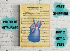 Bibbidi Bobbidi Boo Music Art Metal Print-Fairy Disney Art, Fairy, Songs, Metal, Music, Prints, Poster, Decor, Cinderella