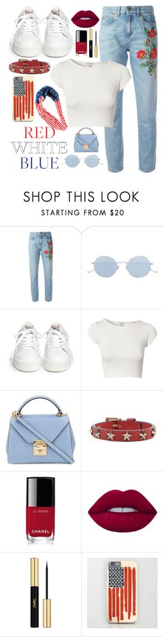 """""""4th of july!"""" by beingmyselfaf on Polyvore featuring Gucci, Oliver Peoples, Ash, River Island, Mark Cross, RED Valentino, Chanel, Lime Crime and Yves Saint Laurent"""