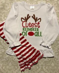 Girls fairisle Christmas outfit 2T 3T 5 6 NWT ruffle reindeer t shirt leggings