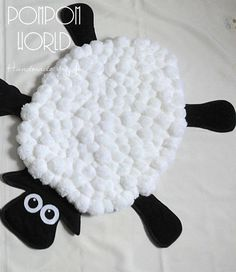 Kids Rug - SHEEP - Pom Pom Rug - Pom Pom Sheep - Nursery Decor - White - Black…