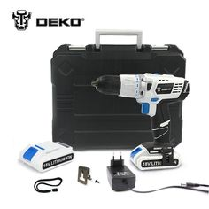 [Visit to Buy] DEKO GCD18DU3 18V DC DIY Mobile Power Supply Lithium-Ion Battery Cordless Drill Power Drill Impact Drill Electric Drill Set #Advertisement