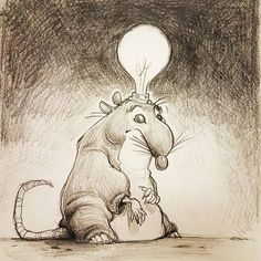 #labrat #fatrat #rat #lightbulb #messypencil #blackwing #fueledbytea Cartoon Rat, Lab Rats, Draw Animals, Black Wings, Lightbulb, Rodents, Bats, Animal Drawings, Rabbits