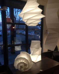 Artemide Issey Miyake IN-EI Collection that I have in my Show Room. Nice Mix of Shadow and Light