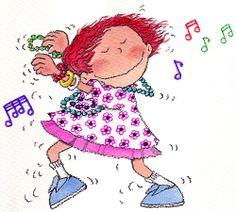 Rosa María Curto. Nena feliç cantant i ballant.