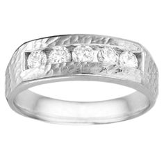 Sterling Silver Men's Wedding Fashion Ring with Cubic Zirconia (0.75 Cts.) (Yellow Plated Sterling Silver, Size 7)