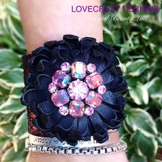 Vintage Weiss earring on leather flower and cracked metallic fuchsia leather band!