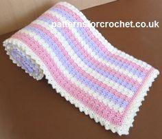 Free baby crochet pattern for pastel stroller blanket #patternsforcrochet
