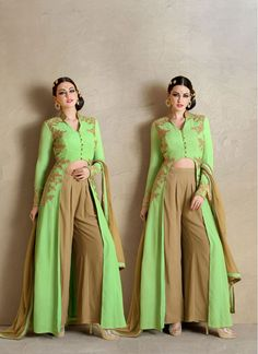 Georgette Green and Beige Embroidered Pant Style Salwar Suit