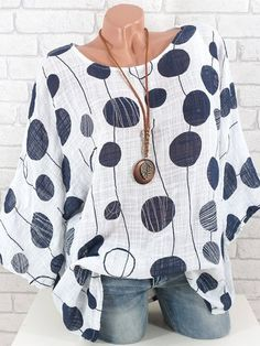 Women Plus Size Long Sleeves top Casual womens O-Neck Polka Dot Blouse Bohemian style Ladies Pullover Tops Shirt blouses mujer Blouse Verte, Blouse Ample, Polka Dot Blouse, Polka Dots, Mode Outfits, Fashion Outfits, Batwing Sleeve, Plus Size Blouses, Moda Online