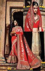 Red Color Half Georgette Jacquard and Half net Designer Bridal Wear Sarees : Sindura Collection YF-37466