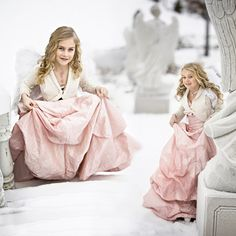 Sisters together in winter landscape. Photo by Teija Pekkala