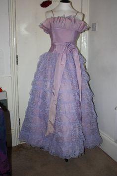 Vintage 1950's Lavender Lace Satin Prom by missloulouscloset, £250.00