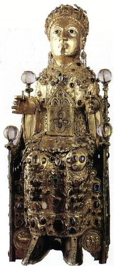 The Reliquary of Sainte-Foi, Conques, France on the pilgrim road to Santiago de Compostela. Her relics arrived in Conques through theft in 866.