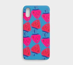 Design iphone case, blue berries pink, iPhone X / XS by Luxury fashion boutique. Artwork printed on Lexan plastic iPhone X / XS case with embedded print, UV and scratch resistant School Projects, Craft Projects, Girls Boutique, Fashion Boutique, Luxury Girl, Pink Iphone, Digital Collage, Birthday Party Decorations, Banner Design