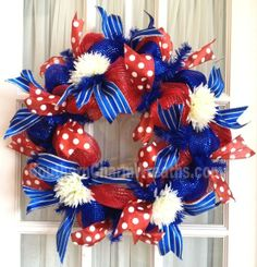 Mesh Wreaths for Any Occasion | July 4th Wreath Screen Door Mesh Wreath Red Blue Polka Dot Stripe by ...