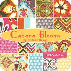 Gorgeous!!  Cabana Blooms Fat Quarter Bundle  Iza Pearl Design for Windham Fabrics