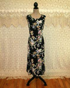 Romantic Boho Dress 2X Plus Size 18 Sleeveless Black Floral