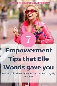 """Elle Woods from Legally  Blonde was portrayed as the so-called quintessential BIMBO stereotype in  the movie. Drenched in a """"strawberry pink"""" themed wardrobe she breaks  the stereotype of Blonde means stupid. There are many Empowerment Tips  that Elle Woods gave you in legally blonde, read in this article as why  Elle Woods is a Feminist Hero in her own way. Bad Day Humor, Building Self Esteem, Women Empowerment Quotes, Elle Woods, Healthy Lifestyle Changes, Legally Blonde, Anxiety Tips, Negative Self Talk, Self Compassion"""
