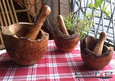 Mortar and pestle made out of olive wood